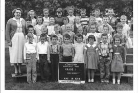Bonnie Adams in the first grade at Concord Elementary with Mrs. Emma Mordoff.